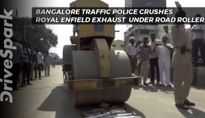 Bangalore City Police Use A Road Roller To Crush Loud Exhausts