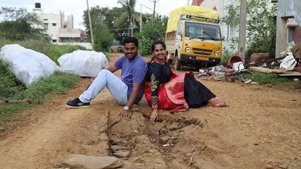 குண்டும் குழியுமாக மோசமான சாலை... அரசாங்க கவனத்தை ஈர்க்க ஃபோட்டோஷூட் நடத்திய இளம் தம்பதி!